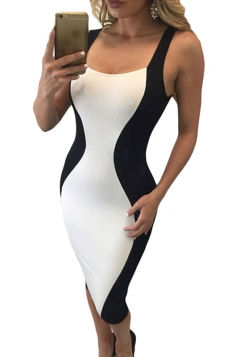 Womens Sexy Hourglass Shape Lace-up Back Bodycon Midi Dress White