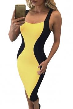 Womens Sexy Hourglass Shape Lace-up Back Bodycon Midi Dress Yellow