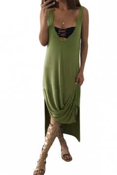Womens Sexy V Neck Side Slit Plain Tank Dress Green
