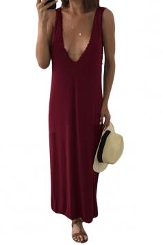 Womens Sexy V Neck Side Slit Plain Tank Dress Ruby