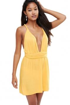 Womens sexy multi way lace up plain mini shift dress yellow