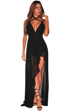 Womens V Neck Backless Side Slit Plain Maxi Dress Black