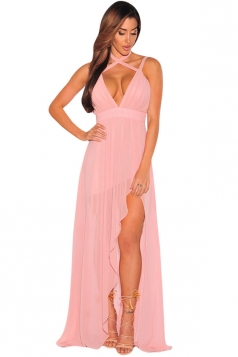 Womens V Neck Backless Side Slit Plain Maxi Dress Pink