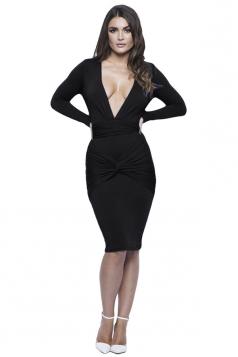 Womens Plunging Neck Long Sleeve Plain Bodycon Dress Black