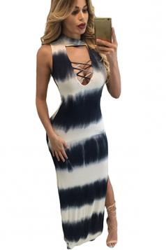 Womens Tie Dye Cutout Side Slit Sleeveless Maxi Dress Black