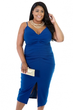 Womens V Neck Draped Slit Front Plus Size Dress Blue