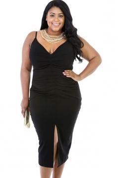 Womens V Neck Draped Slit Front Plus Size Dress Black
