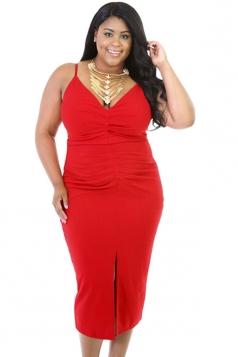 Womens V Neck Draped Slit Front Plus Size Dress Red