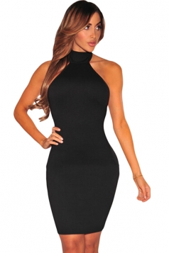 Womens Halter Off Shoulder Lace up Back Bodycon Dress Black