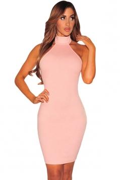 Womens Halter Off Shoulder Lace up Back Bodycon Dress Pink