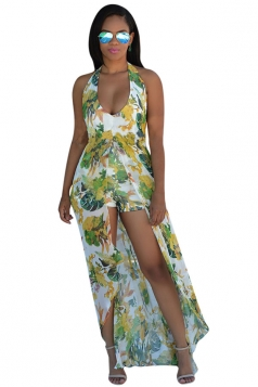 Womens Halter Floral Backless Romper with Maxi Dress Light Green