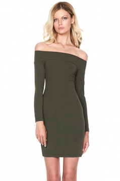 Womens Off Shoulder Long Sleeve Plain Bodycon Dress Army Green