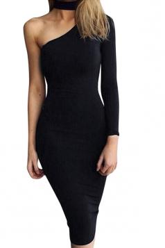 Womens Halter One Shoulder Midi Bodycon Dress Black
