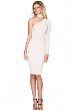 Womens Halter One Shoulder Midi Bodycon Dress White