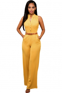 Womens Elegant Sleeveless Belted Wide Leg Jumpsuit Orange