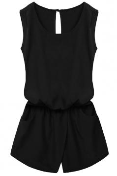 Womens Stylish Sleeveless Elastic Waist Pockets Romper Black
