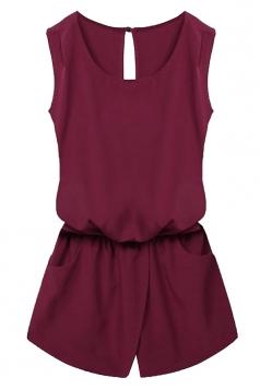 Womens Stylish Sleeveless Elastic Waist Pockets Romper Ruby