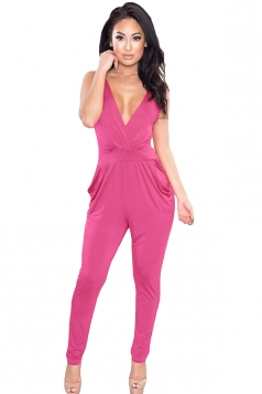 Womens Strappy Plunging V Neck Backless Jumpsuit Pink