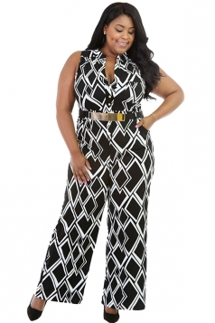 Womens Plus Size Geometric Printed Palazzo Jumpsuit Black