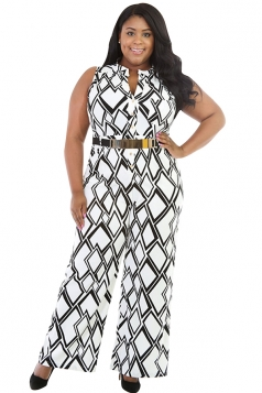 Womens Plus Size Geometric Printed Palazzo Jumpsuit White