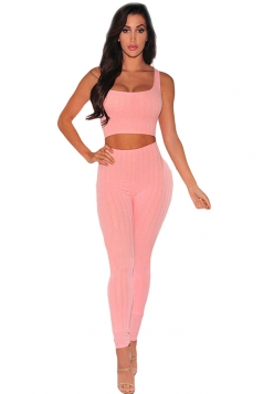Womens Ribbed Cut Out Plain Tank Jumpsuit Pink