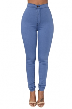 Womens Sexy Slimming Plain High Waist Leggings Blue
