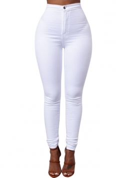 Womens Sexy Slimming Plain High Waist Leggings White