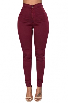 Womens Sexy Slimming Plain High Waist Leggings Ruby