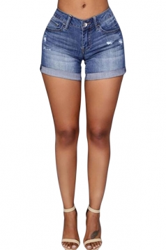 Womens Stylish Ripped Crimping High Waist Denim Shorts Blue