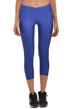 Womens Liquid High Waist Cropped Plain Legging Blue