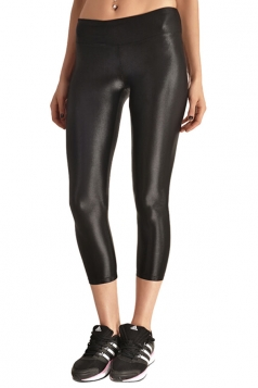 Womens Liquid High Waist Cropped Plain Legging Black