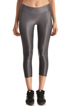 Womens Liquid High Waist Cropped Plain Legging Gray