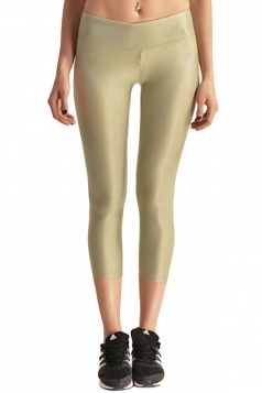 Womens Liquid High Waist Cropped Plain Legging Khaki