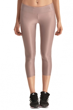 Womens Liquid High Waist Cropped Plain Legging Pink