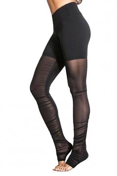 Womens High Waist Patchwork Plain Over Heels Yoga Leggings Black