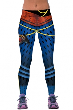 Womens Diamond Printed Ankle Length Sports Leggings Sapphire Blue