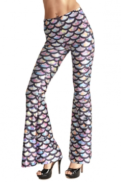 Womens High Waist Fish Scale Printed Bell Bottom Pants Dark Purple