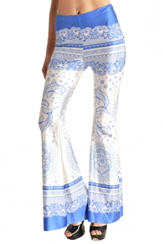 Womens High Waist Exotic Printed Bell Bottom Pants White