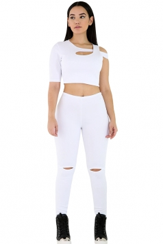 Womens 2pcs One Sleeve Crop Top&Cut Out Pants Set White