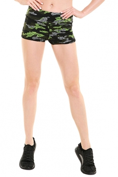 Womens Seamless Splicing Camouflage Printed Sports Shorts Green