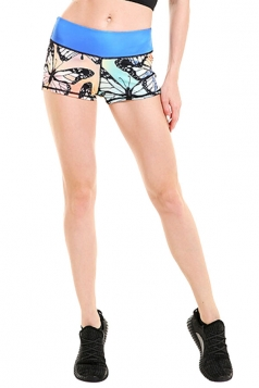 Womens Seamless Splicing Butterfly Printed Sports Shorts Light Blue