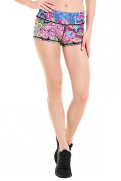 Womens Seamless Splicing Peacock Printed Sports Shorts Light Purple