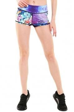 Womens Seamless Splicing Sea World Printed Sports Shorts Purple