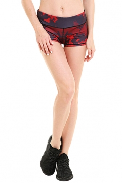 Womens Seamless Splicing Map Printed Sports Shorts Red