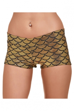 Womens Mermaid Fish Scale Printed Yoga Sports Mini Shorts Gold