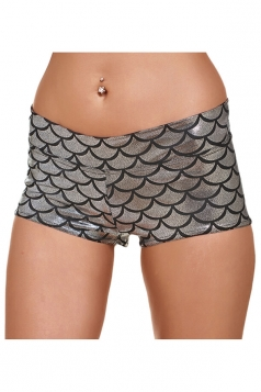 Womens Mermaid Fish Scale Printed Yoga Sports Mini Shorts Silvery