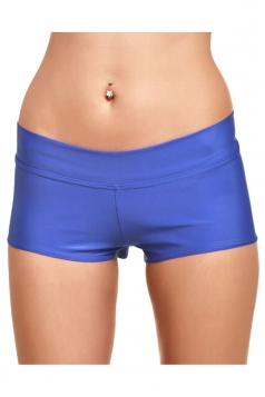 Womens Liquid Plain Sports Mini Shorts Blue