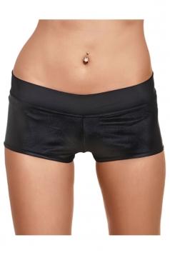 Womens Liquid Plain Sports Mini Shorts Black