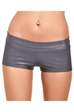 Womens Liquid Plain Sports Mini Shorts Gray