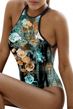 Womens Sexy Floral Criss Cross Backless One Piece Swimsuit Turquoise
